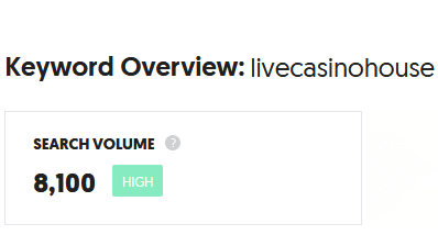 LIVECASINOHOUSE จำนวนการค้นหา 8,100 ครั้ง/เดือน